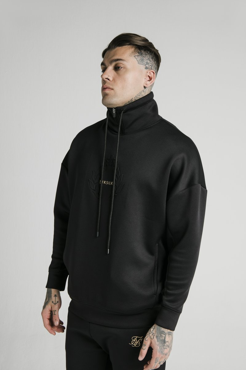 SIKSILK - ELEMENT QUARTER ZIP HOODIE - Sweatshirt - black/gold
