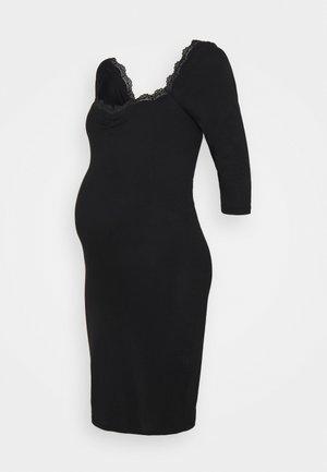 DRESS WITH SLEEVES AND SWEETHEART NECKLINE - Žerzejové šaty - black