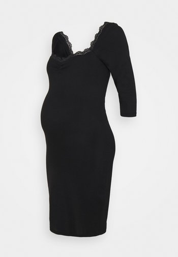 DRESS WITH SLEEVES AND SWEETHEART NECKLINE - Jerseykjole - black