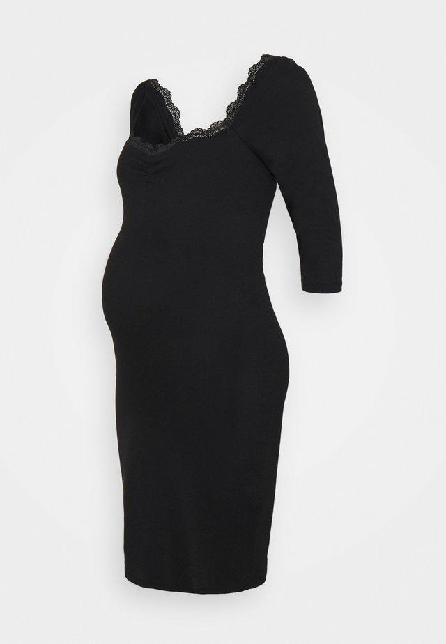 DRESS WITH SLEEVES AND SWEETHEART NECKLINE - Sukienka z dżerseju - black