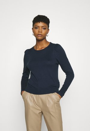 VMSILKE O NECK BUTTON - Jumper - navy