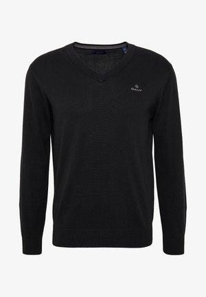 CLASSIC COTTON V-NECK - Sweter - black