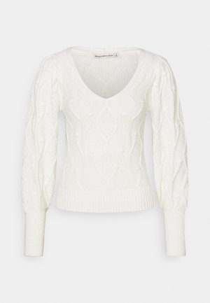 SHRUNKEN BOBBLE V NECK - Jumper - cream