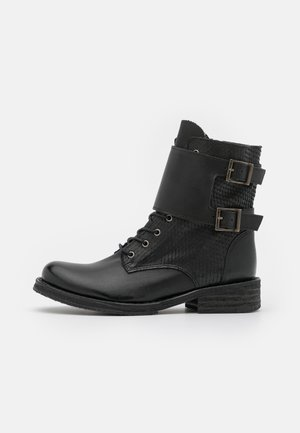COOPER - Lace-up ankle boots - uraco/python black