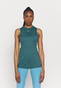 Nike Performance - DRY STRIPE - Top - dark teal green/lime glow - 0