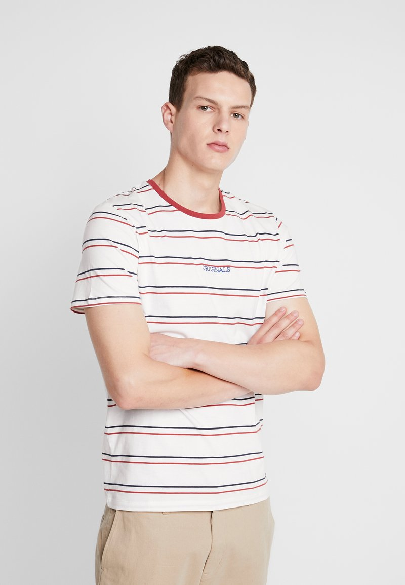 Jack & Jones - JORDYED TEE CREW NECK REGULAR FIT - Print T-shirt - cloud dancer