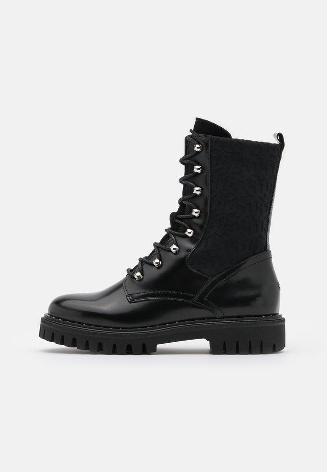 MATERIAL MIX BOOTIE - Platform ankle boots - black