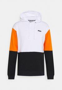 Fila - DAVIS BLOCKED HOODY - Sweatshirt - bright white/black/russet orange - 0