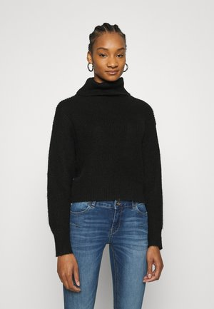 Roll neck- wool blend - Jumper - black