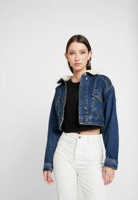 Topshop - CROP BORG JACKET - Denim jacket - blue denim - 0