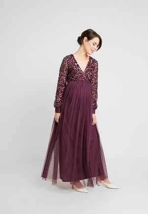 V NECK BISHOP SLEEVE DELICATE SEQUIN DRESS - Vestido de fiesta - berry