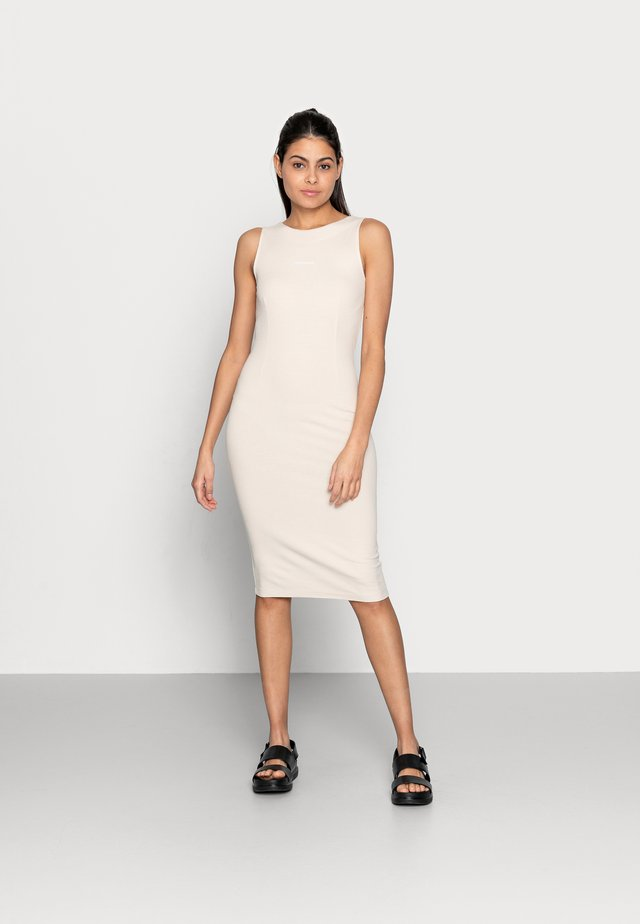 RIB ZIP DRESS - Sukienka z dżerseju - beige