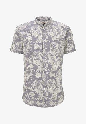 BLUSEN & SHIRTS GEMUSTERTES KURZARMHEMD MIT MAO-KRAGEN - Overhemd - grey botanical yarn dye print