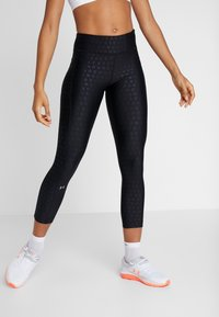 Under Armour - PRINTED ANKLE CROP - Collants - black/white/metallic silver - 0