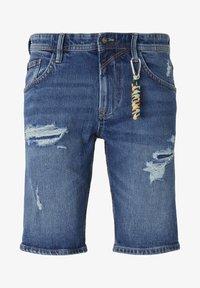 TOM TAILOR DENIM - MIT SCHLÜSSELAN - Denim shorts - random bleached  blue denim - 6