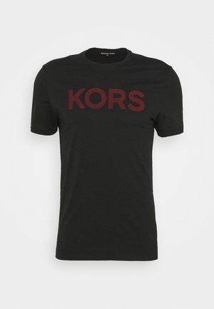 PLAID LOGO - T-shirt con stampa - black