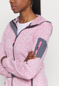 CMP - WOMAN JACKET FIX HOOD - Fleece jacket - pink fluo melange/graffite - 4