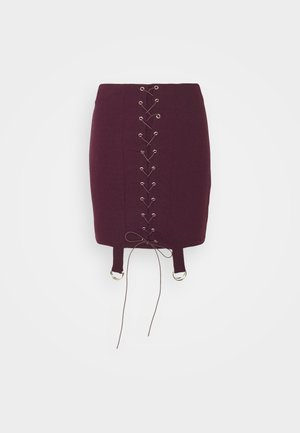 LACE UP STRAP DETAIL SKIRT - Mini skirt - wine