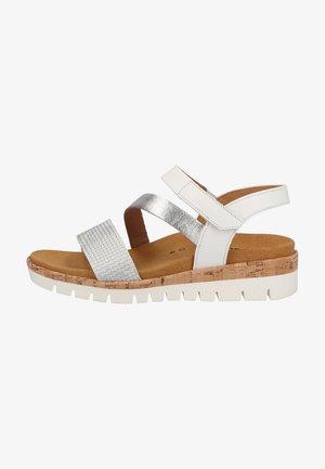 Wedge sandals - silber weiss kork