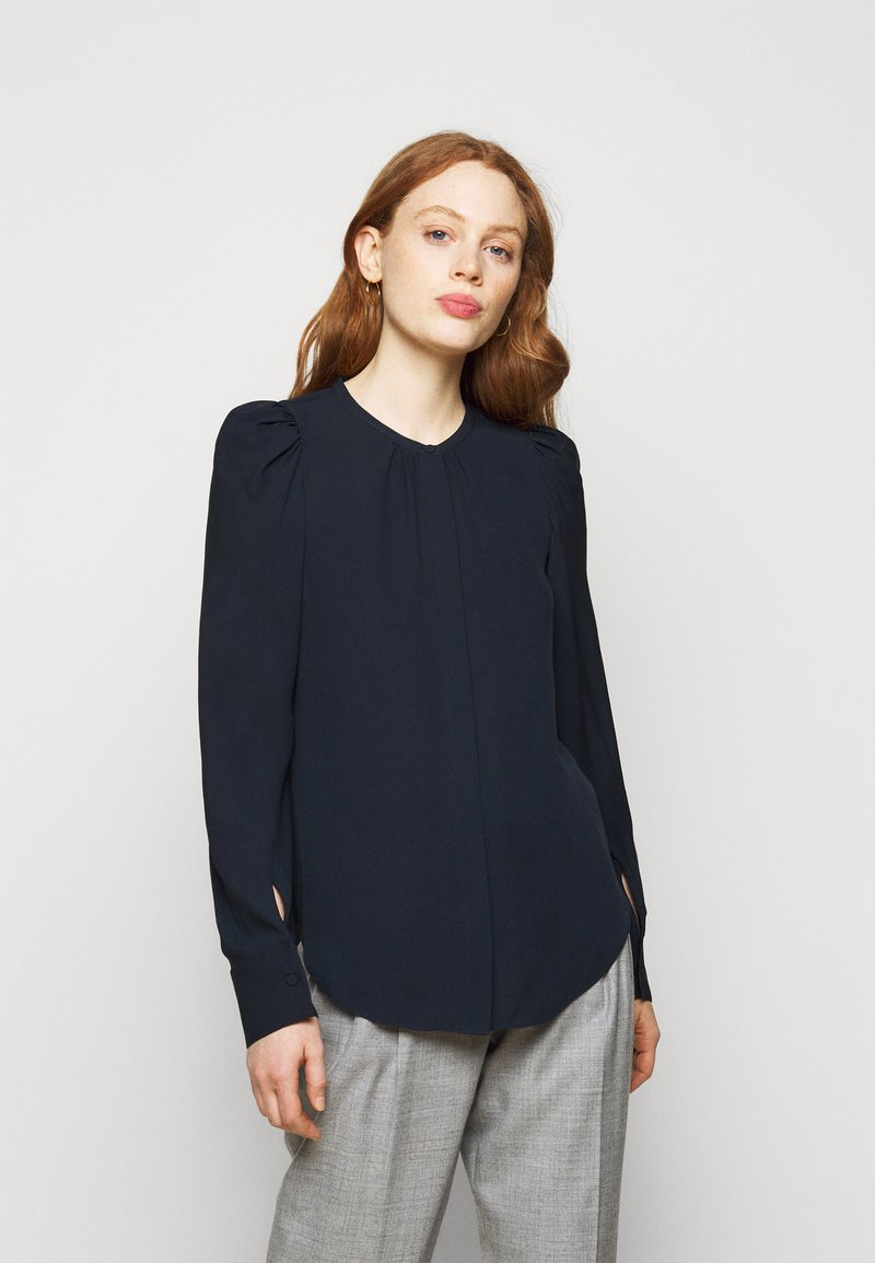 Theory - RUCHED BLOUSE - Blouse - navy ink