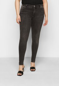 Pieces Curve - PCDELLY - Jeansy Skinny Fit - dark grey denim - 0
