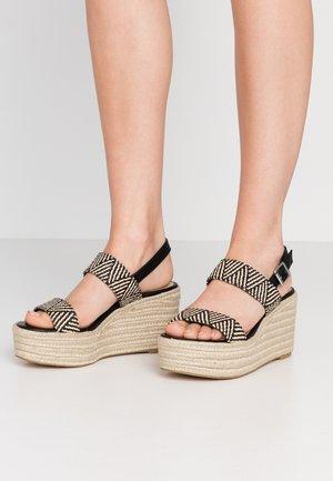 FOCUSED - High heeled sandals - black/tan
