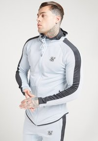 SIKSILK - ATHLETE EYELET ZIP THROUGH HOODIE - Sportovní bunda - ice grey/charcoal - 0
