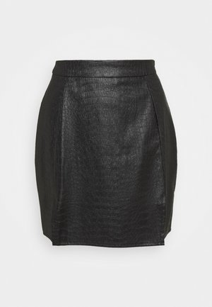 DOUBLE SPLIT CROC MINI SKIRT - Minifalda - black