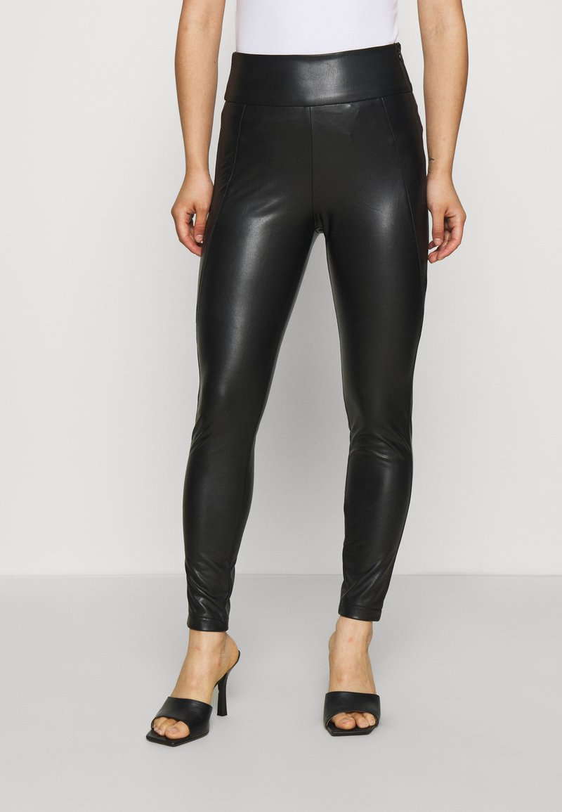 VILA PETITE - VINNIS COATED  - Leggings - Trousers - black
