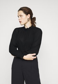Kaffe Curve - KCTRUDI BLOUSE - Long sleeved top - black deep - 4