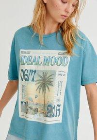 PULL&BEAR - Print T-shirt - stone blue denim - 3
