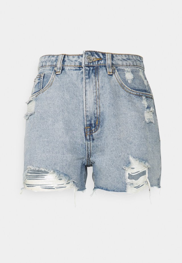 HEM DISTRESS - Denim shorts - blue