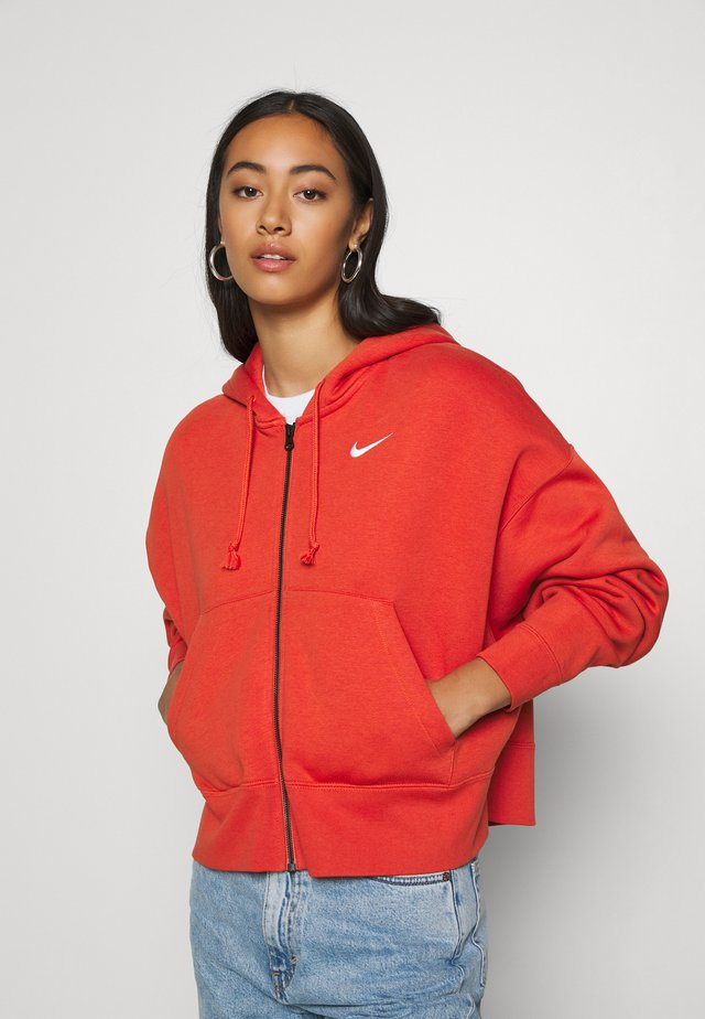 TREND - veste en sweat zippée - mantra orange/white