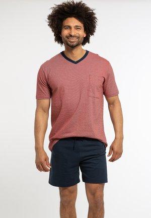 Pyjama set - dunkelblau / rot gestreift