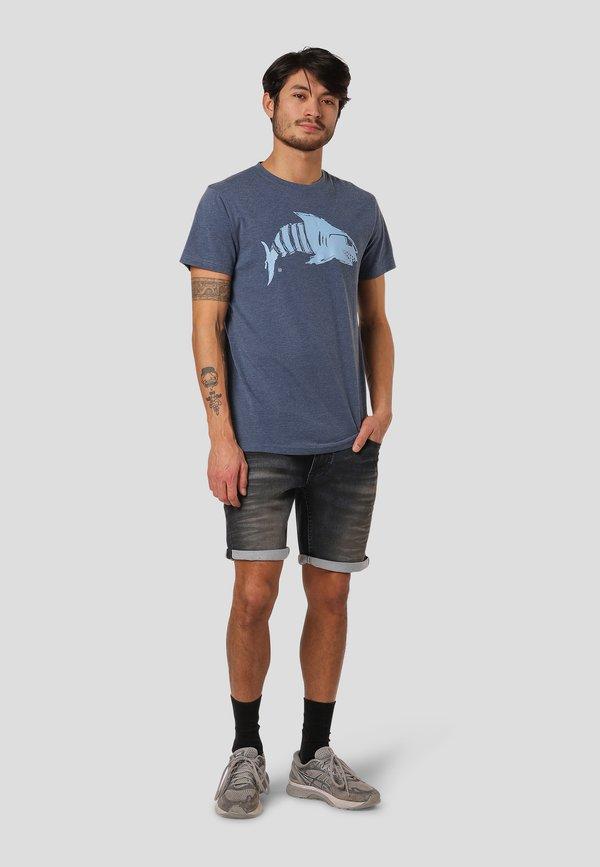 MARCUS VILLARD - T-shirt z nadrukiem - blue mix/niebieski melanż Odzież Męska DMAY
