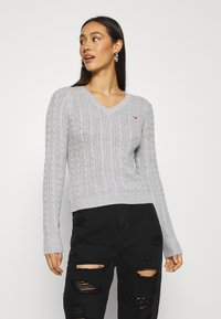 Hollister Co. - CABLE ICON VNECK - Trui - grey - 0