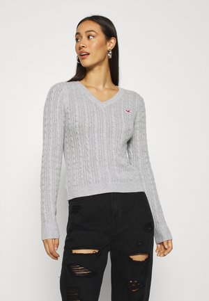 CABLE ICON VNECK - Sweter - grey