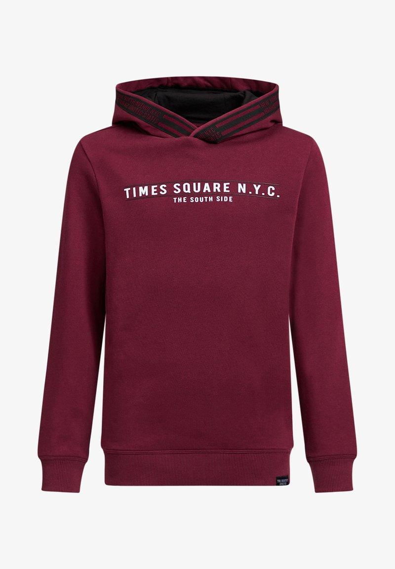 WE Fashion - JONGENS MET TEKST- EN TAPEDETAIL - Hoodie - burgundy red