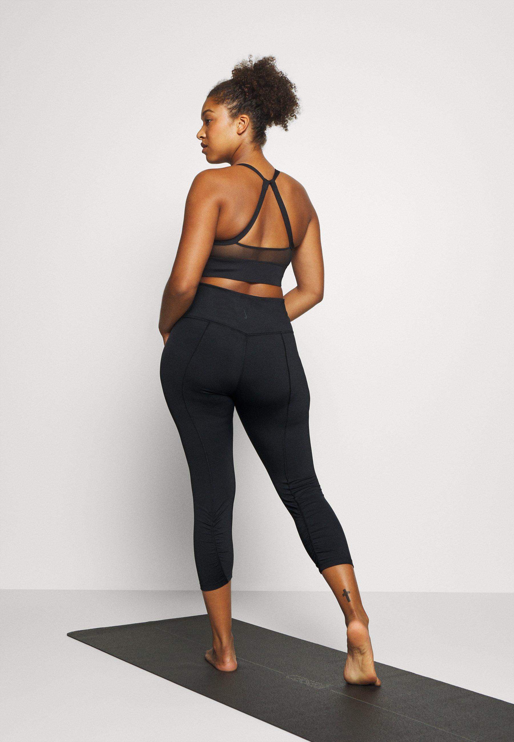 Nike Performance YOGA RUCHE 7/8 TIGHT PLUS - 3/4 sports trousers - black/dark smoke grey oN8WM