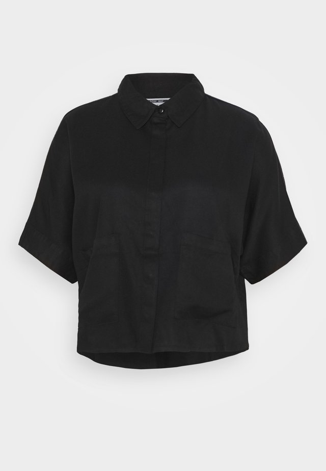 NMBLOSSOM POCKET SHIRT - Button-down blouse - black