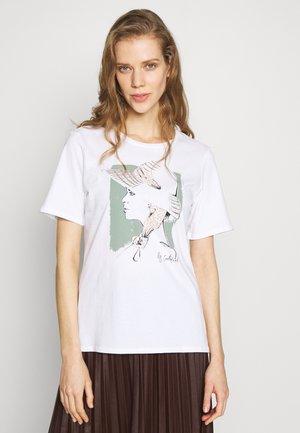 CREW NECK WITH POSITIONAL PRINTS - Camiseta estampada - off white