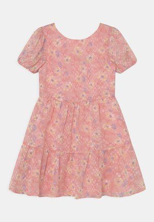 GIRLS PUFF SLEEVE TEXTURED FLORAL PRINT DRESS - Cocktailjurk - pink