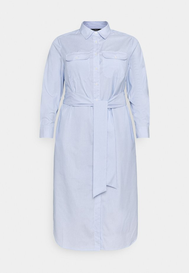 BISHNAL LONG SLEEVE CASUAL DRESS - Robe chemise - blue/white