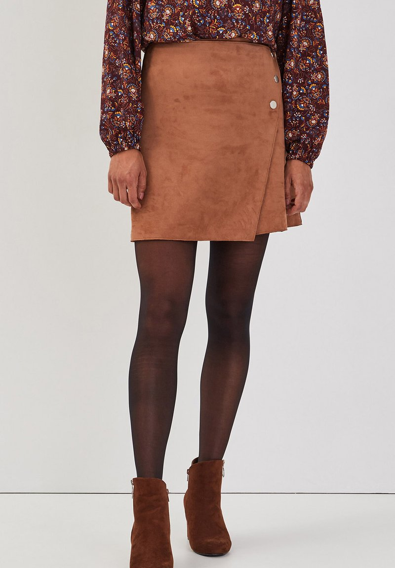 Cache Cache - ASYMMETRISCHER  - A-line skirt - marron clair