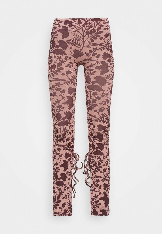 TIE CUFF SPLIT HEM - Leggings - Trousers - pink/brown