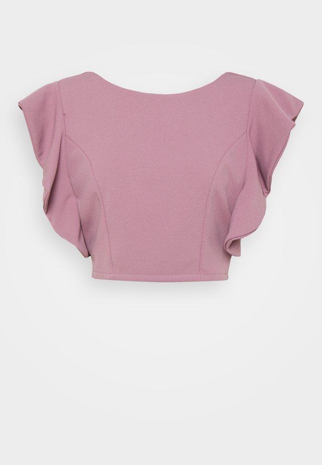 OLLI FRILL SLEEVE CROP  - T-shirt print - mauve pink