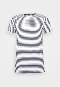 EASY CREWNECK TEE - T-shirt med print - white/dark blue