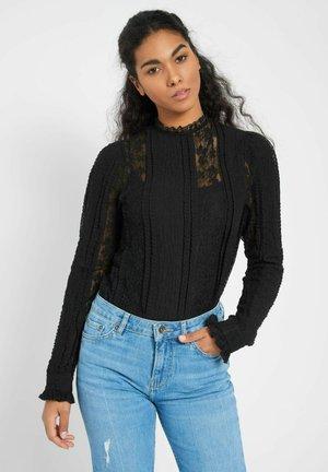 MIT SPITZE - Bluse - schwarz
