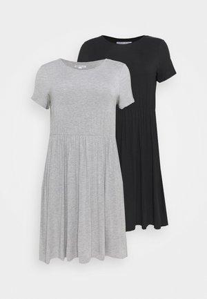 SMOCK MIDI DRESSE 2 PACK - Žerzejové šaty - black/grey marl