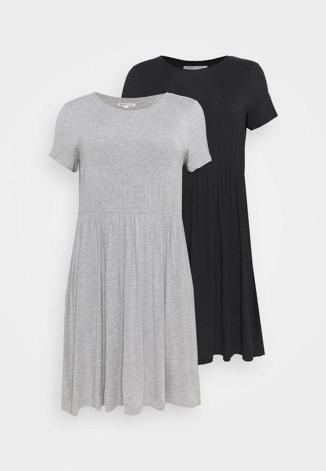 SMOCK MIDI DRESSE 2 PACK - Jersey dress - black/grey marl